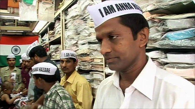 Anna Hazare merchandise on sale in Mumbai