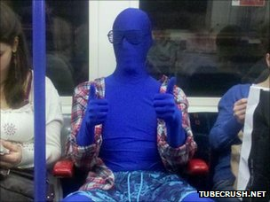 Blue man on underground
