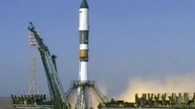 A Soyuz rocket booster carrying Progress supply ship was launched from the Baikonur cosmodrome in Kazakhstan