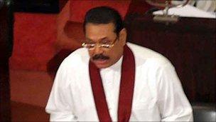 President Rajapaksa in parliament