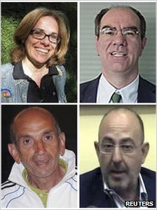 A combination picture shows Elisabetta Rosaspina (top L), Giuseppe Sarcina (top R), Domenico Quirico (bottom L), and Claudio Monici, the four Italian journalists abducted by gunmen in Libya