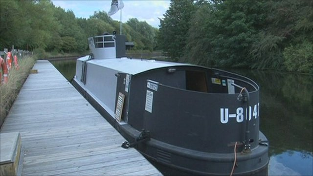 Richard Williams turned his canal barge into a replica submarine