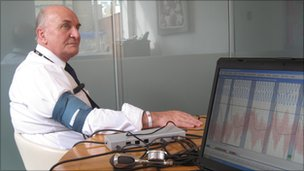 Steve Pound MP connected to the polygraph machine
