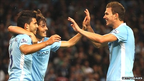 Sergio Aguero (left), David Silva (centre) and Edin Dzeko (right)