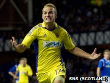Dalibor Volas celebrates scoring for Maribor against Rangers
