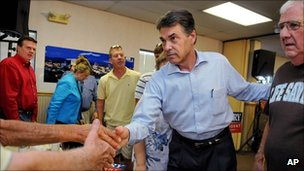 Rick Perry meets voters in South Carolina on 20 August