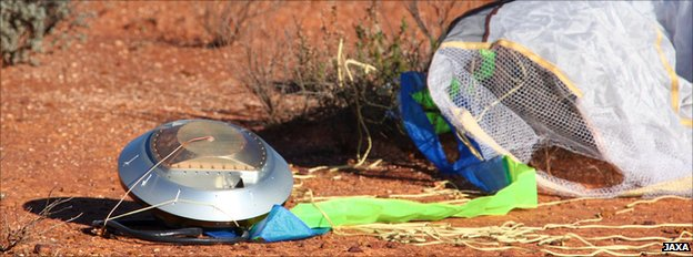 The Hayabusa sample return capsule in Australia's Outback after its return to Earth