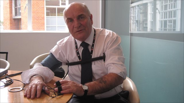 Stephen Pound MP, connected to a polygraph machine