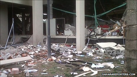 Scene of Friday's bomb blast at the UN building in the Nigerian capital Abuja (pic courtesy SaharaReporters.com)