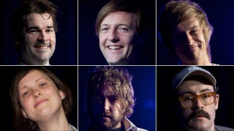 Clockwise from top left;: Adam Riches, Andrew Maxwell, Chris Ramsey, Sam Simmons, Nick Helm and Josie Long