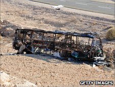 A burnt out bus