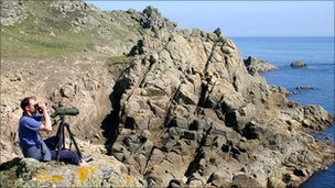 Dr Russell Wynn at work at the SeaWatch SW watchpoint near Land's End