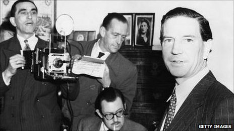 Kim Philby, the double agent who was connected with spies Burgess and Maclean, at a press conference at Drayton Gardens in London on 8 November 1955