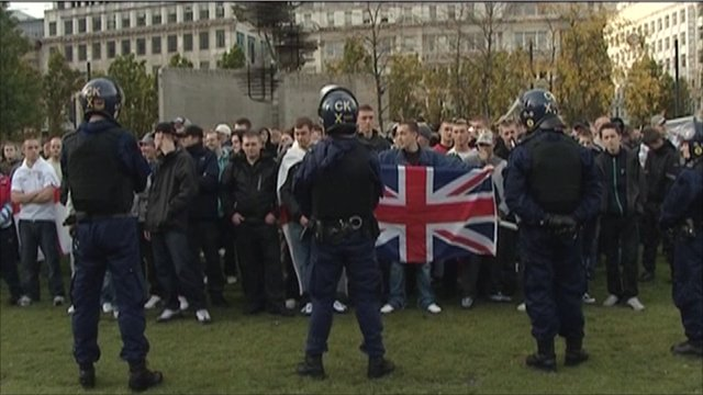 Members of the English Defence Leagues protesting