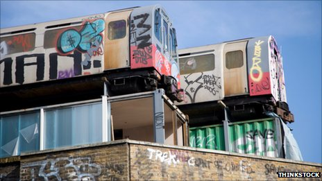 trains with graffiti