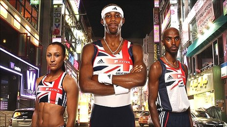 Jessica Ennis (left), Phillips Idowu (centre) and Mo Farah (right)
