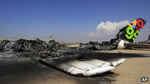 Burnt-out passenger jet at Tripoli airport - 26 August 2011