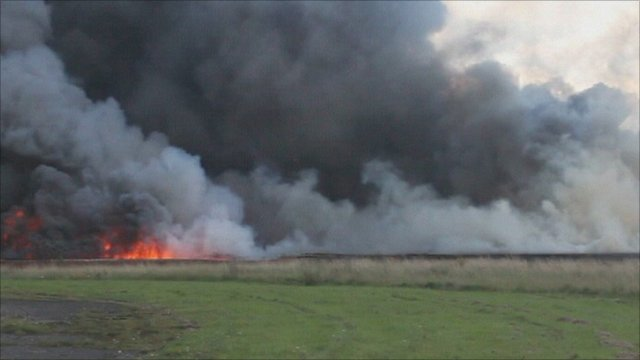 Fire at Lasham, near Basingstoke in Hampshire.