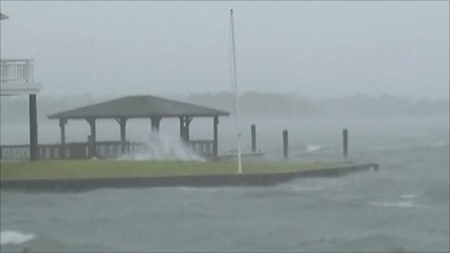 Hurricane winds whip up sea
