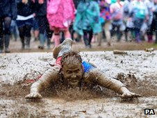 Muddy festival-goer at Leeds