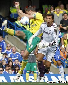 Grant Holt hooks in the equaliser past a bemused Hilario