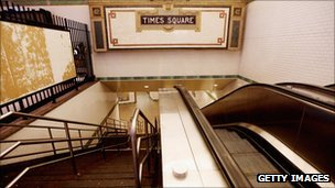 The deserted Times Square subway station