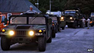 US Army photo shows Virginia National Guard Soldiers preparing for possible duty in response to Hurricane Irene