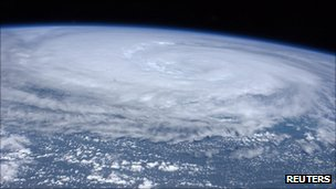 A NASA Goddard Space Flight Center handout photo shows an image of Hurricane Irene around 2030 GMT (4:30 p.m. EDT) August 26, 2011