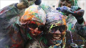 Revellers covered themselves in paint and powder for the J'ouvert celebration at the Notting Hill Carnival on Sunday
