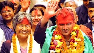 Baburam Bhattarai with wife Hisila Yami