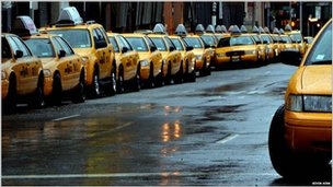 Rows of empty New York taxi cabs. Photo: Kevin Kirk