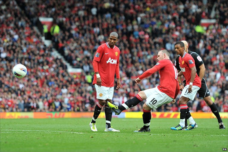 Ashley Young (left), Rooney, and Nani
