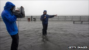 Jim Cantore, an on-camera meteorologist for The Weather Channel, reports on Hurricane Irene