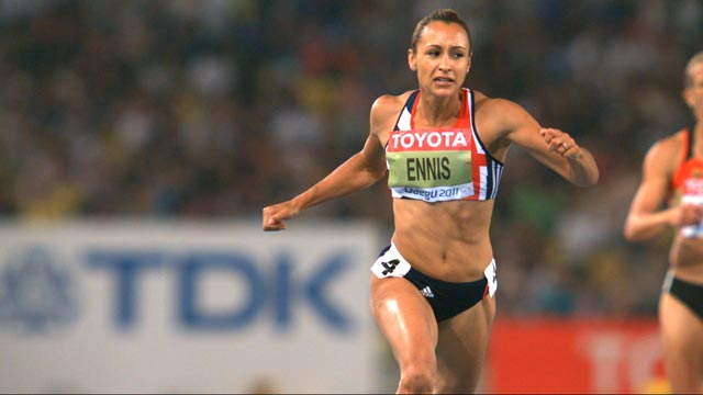 Great Britain's Jessica Ennis leads the heptathlon on the third evening at the World Championships in Daegu, South Korea