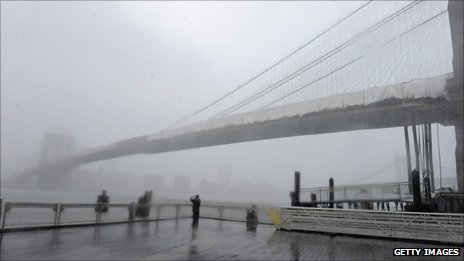 Brooklyn Bridge, as Irene stormed