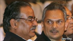 Prachanda (left) with Dr Bhattarai