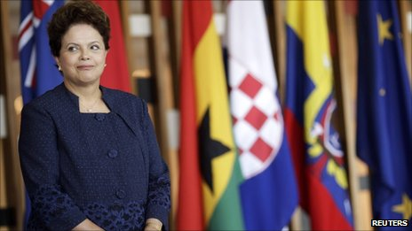 Brazilian President Dilma Rousseff smiles during a ceremony for the delivery of credentials of new ambassadors at the Itamaraty Palace in Brasilia on 12 August 2011