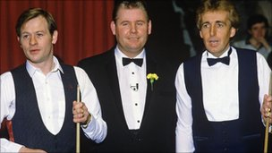Len Ganley with Alex Higgins and Terry Griffiths