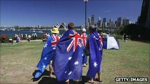 A group wear flags in Sydney on Australia Day, 2008