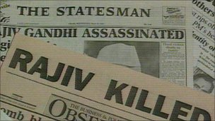 Indian newspapers announce Mr Gandhi's killing in 1991