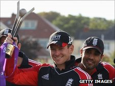 Eoin Morgan lifts the Ireland-England ODI trophy