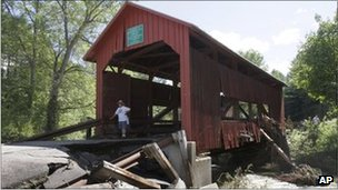 A bridge in Northfield, Vermont, damaged during the storm