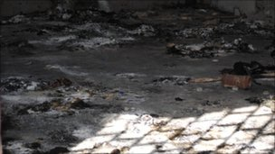 Barn at Ain Zara in south-eastern Tripoli, found full of charred corpses - alleged to be army officers killed in recent weeks for failing to obey orders from Col Muammar Gaddafi&#039;s regime