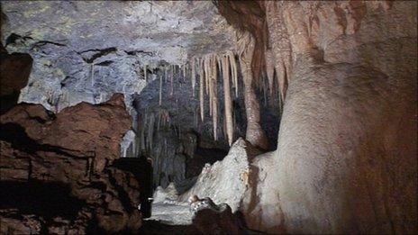 Cave and stalactites. Pic: BBC Alba