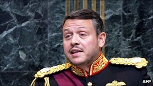 "King Abdullah II of Jordan giving ""speech from the throne"" to parliament"