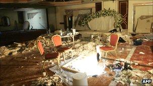 Destruction inside Amman Radisson hotel after 2005 blasts