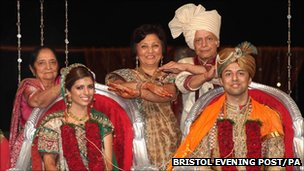 Shrien and Anni Dewani at wedding with family members