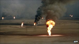 Burning oil wells in Kuwait, 1991