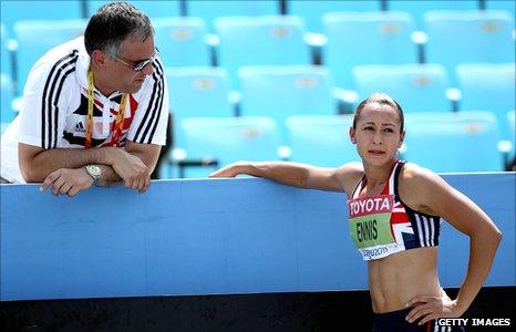 Toni Minichiello (left) with Jessica Ennis