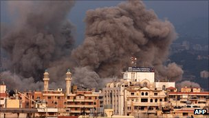 Blast caused by Israeli air strike on Beirut, 2006